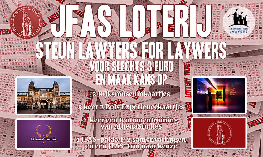 JFAS LOTERIJ: steun Lawyers for Lawyers!